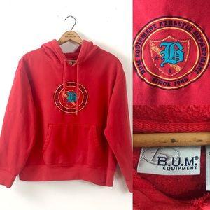 VTG BUM equipment red hoodie jacket sz XL T18